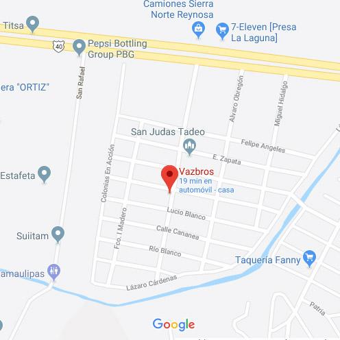 Ubicación de Vazbros en Google Maps.